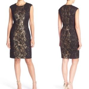 Betsy Johnson black gold lace fitted dress sz 12